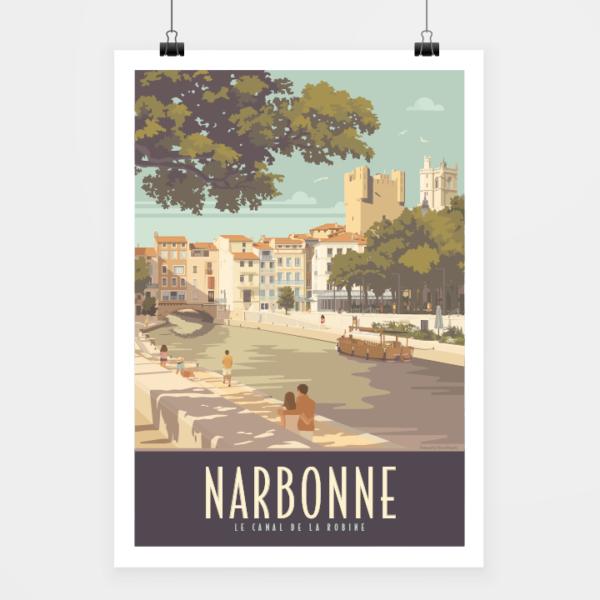 Affiche touristique avec l'illustration Narbonne le canal