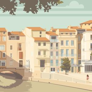 Gros plan de l'illustration Narbonne le canal