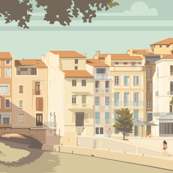 Gros plan de l'illustration Narbonne le canal