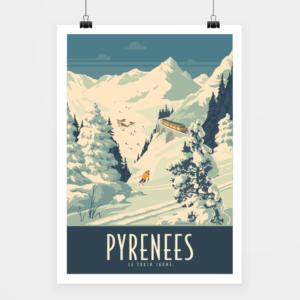 Affiche touristique avec l'illustration Pyrénées Train jaune