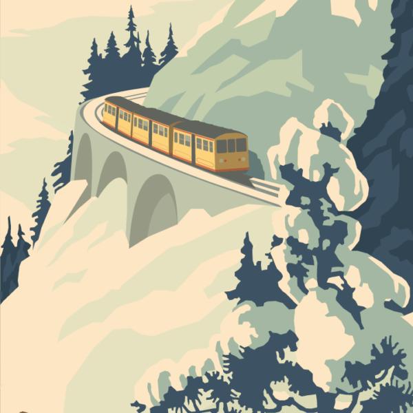 Gros plan de l'illustration Pyrénées Train jaune
