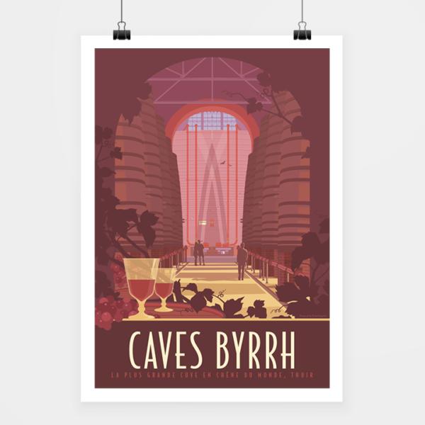 Affiche touristique avec l'illustration Caves Byrrh