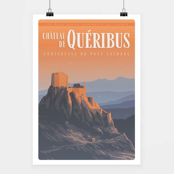 Affiche touristique avec l'illustration château de Quéribus