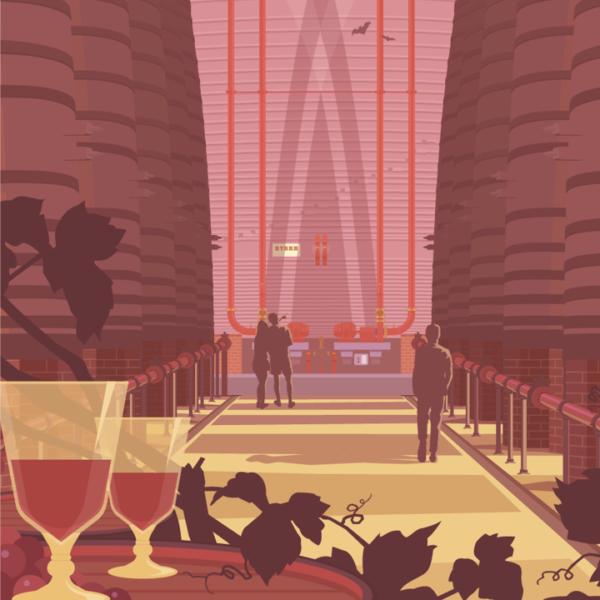 Gros plan de l'illustration Caves Byrrh