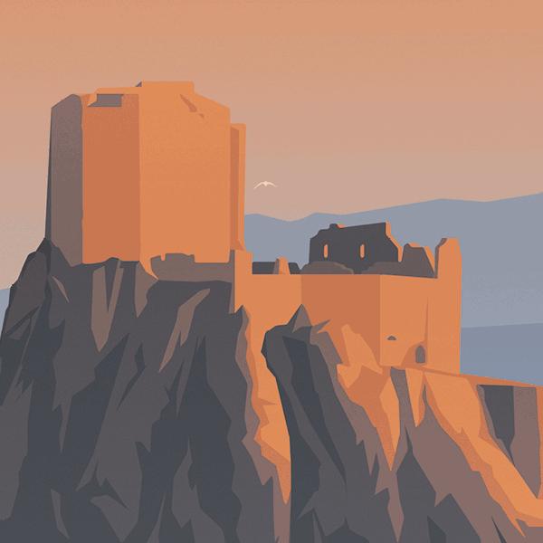 Gros plan de l'illustration château de Quéribus
