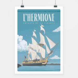 Affiche touristique avec l'illustration L'Hermione