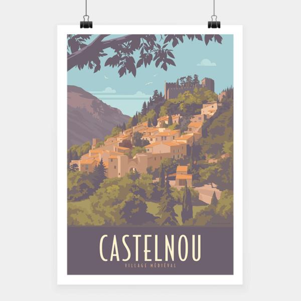 Affiche touristique avec l'illustration Castelnou