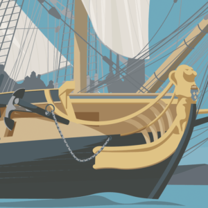 Gros plan de l'illustration L'Hermione