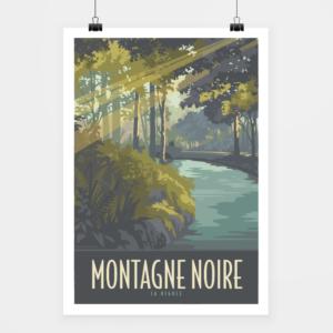 Affiche touristique avec l'illustration Montagne Noire La Rigole