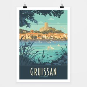 Affiche touristique avec l'illustration Gruissan Le village