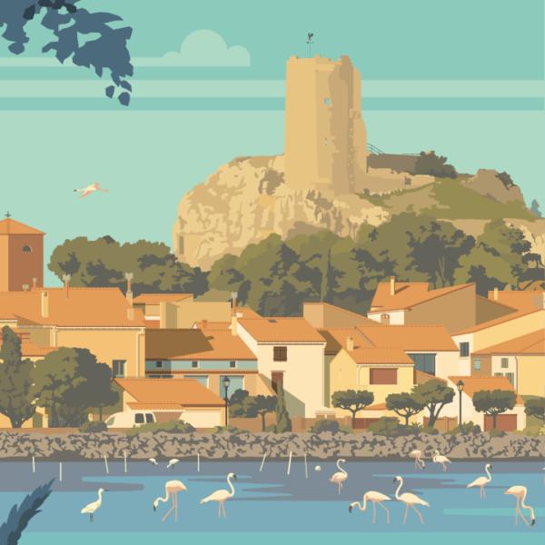 Gros plan de l'illustration Gruissan Le village