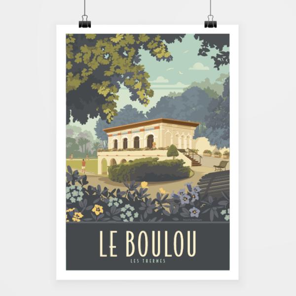 Affiche touristique avec l'illustration Le Boulou Thermes