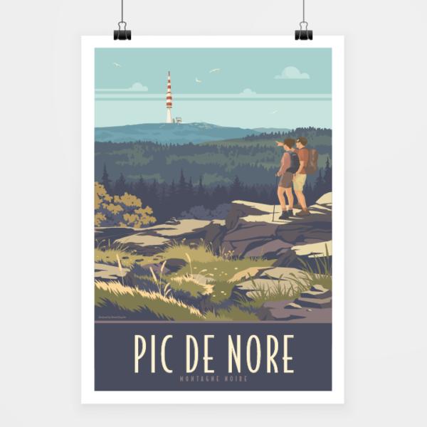 Affiche touristique avec l'illustration Pic de Nore