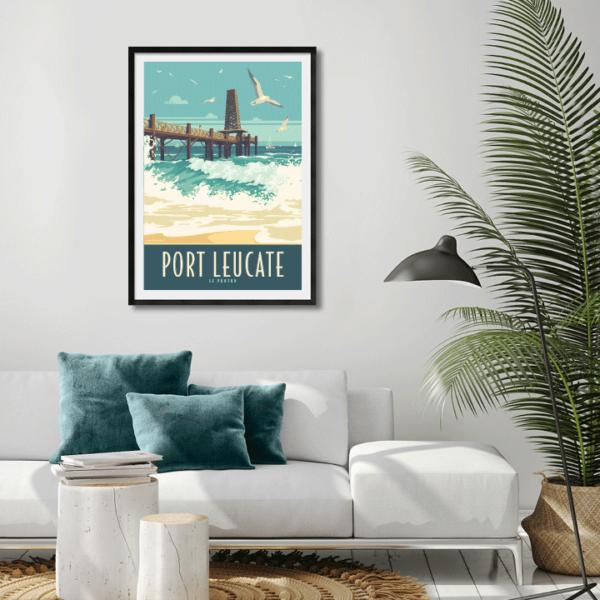 Décor avec l'affiche encadrée Port Leucate Le Ponton
