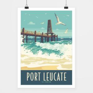 Affiche touristique avec l'illustration Port Leucate Le Ponton
