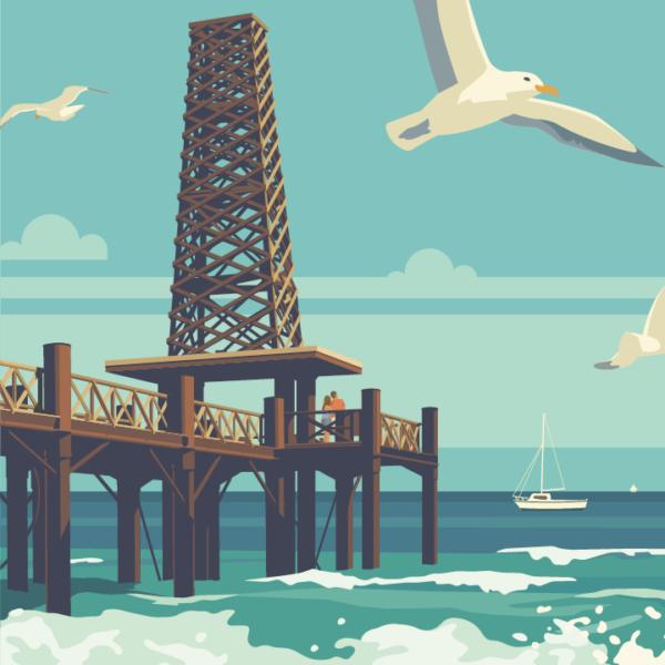 Gros plan de l'illustration Port Leucate Le Ponton